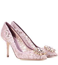 Dolce And Gabbana Bellucci Embellished Lace Pumps Purple