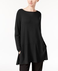 Eileen Fisher Boat Neck Tunic With Seam Detail A Macy's Exclusive Black