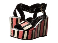 Just Cavalli Striped Printed Leather And Patent Leather Pink Women's Wedge Shoes