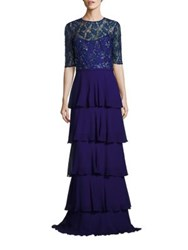 Rickie Freeman For Teri Jon Sequined Tiered Gown Royal Blue