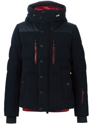 Moncler Grenoble Cable Knit Hooded Padded Jacket Blue