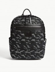 a813fb68d5a81 Giuseppe Zanotti Camouflage Textured Leather Backpack Black Camo