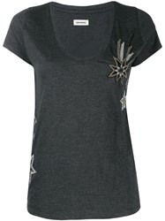 Zadig And Voltaire Embroidered T Shirt Grey