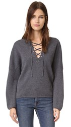Vince Lace Up Front Sweater H Graphite