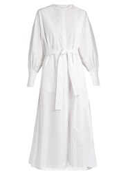 The Row Tie Waist Cotton Poplin Dress White