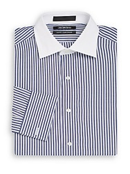 Saks Fifth Avenue Slim Fit Contrast Collar Striped Dress Shirt Blue