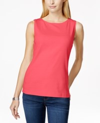 Karen Scott Sleeveless Boat Neck Tank Top Only At Macy's Peony Coral