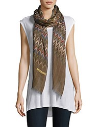 Missoni Chevron Printed Cashmere Blend Scarf Dark Brown
