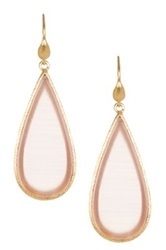 Rivka Friedman 18K Gold Clad Satin Sliced Pink Cat's Eye Crystal Teardrop Dangle Earrings
