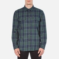 Obey Clothing Men's Highland Plaid Flannel Shirt Green Multi