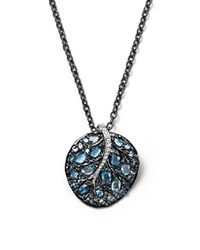 Michael Aram Blue Topaz And Sterling Silver Botanical Leaf Pendant Necklace With Diamond Accents 18