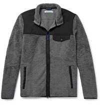 Outerknown Shell Trimmed Cotton Blend Fleece Jacket Dark Gray