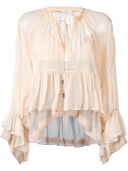 Chloe Colour Block Tiered Top Nude Neutrals