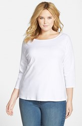 Plus Size Women's Eileen Fisher Organic Cotton Ballet Neck Top White