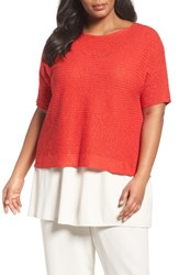 Eileen Fisher Plus Size Women's Organic Linen And Cotton Knit Top Lava