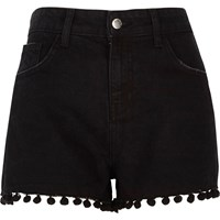 River Island Black Wash Pom Pom High Waisted Denim Shorts