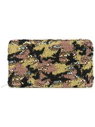 Coohem Knit Tweed Camouflage Pouch Cotton Calf Leather Acrylic Polyester Green