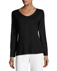 Ming Wang Long Sleeve Scoop Neck Knit Top Black