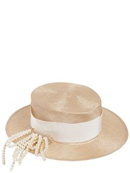 Federica Moretti Small Brim Boater Hat W Pin Natural