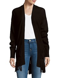 Rebecca Taylor Knit Solid Open Front Sweater Black