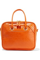 Balenciaga Blanket Small Crinkled Leather Tote Bright Orange