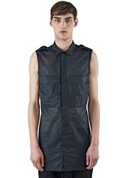 Rick Owens Sleeveless Sheer Field Shirt Black