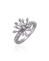 Hueb Luminus 18K White Gold Diamond Stemmed Ring