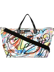 Jeremy Scott 'Graffiti' Shopping Bag White