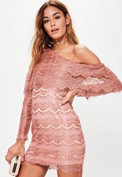 Missguided Pink Lace One Shoulder Long Sleeve Bodycon Dress Rose