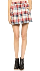 Ryder Quilted Flannel Skirt Red