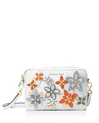 Michael Michael Kors Flower Pouch Medium Multicolor Leather Camera Bag Optic White Multi Gold
