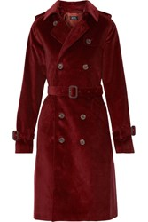A.P.C. Atelier De Production Et De Creation Barbara Double Breasted Corduroy Trench Coat Burgundy