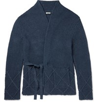 Eidos Ribbed Knit Cotton Wrap Cardigan Navy
