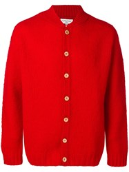 Ymc Long Sleeve Fitted Cardigan Red