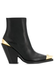 Versace Western Style Ankle Boots Black