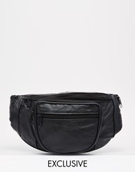 Reclaimed Vintage Leather Bum Bag Black