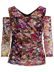 Gina Bacconi Cutout Shoulder Stained Glass Lace Top Multi