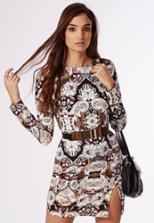 Missguided Green Fitted Shift Dress Paisley Print