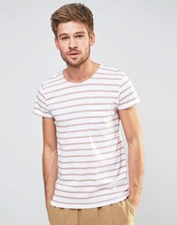 Selected Homme Stripe T Shirt With Pocket Whitepink