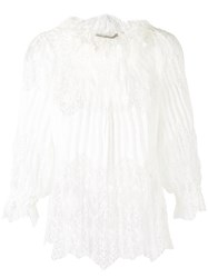 Ermanno Scervino Lace Pleated Blouse Women Ramie Polyamide 46 White