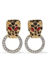 Kenneth Jay Lane Gold Tone Enamel And Crystal Clip Earrings Gold