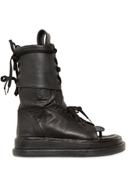 Ktz Gladiator Open Toe Leather Boots Black
