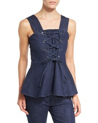 See By Chloe Sleeveless Laced Stretch Denim Peplum Top Blue