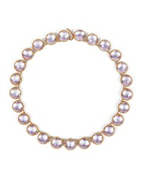 Larkspur And Hawk Olivia Button Riviere Necklace In Petal Foil Pink