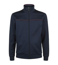 Hugo Boss Green Cotton Zip Up Jacket Male Navy