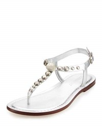 Bernardo Mojo Studded Leather Sandal Gray