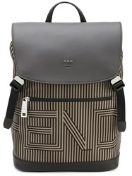 Fendi Striped Drawstring Backpack Men Cotton Calf Leather One Size Brown