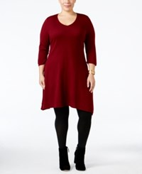 Ny Collection Plus Size Fit And Flare Sweater Dress Wild Cranberry