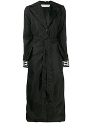 Off White Cuff Logo Belted Trench Coat Black
