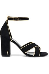 Saint Laurent Babies Metallic Leather Trimmed Suede Sandals Black
